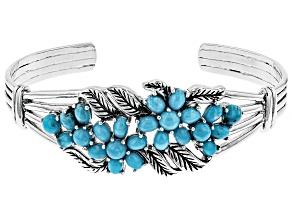 Kingman Turquoise Rhodium Over Sterling Silver Cuff Bracelet