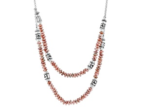 Rhodochrosite bead Sterling Silver Necklace