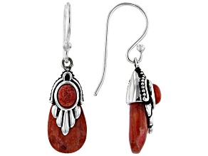 Pear Shape and Oval Red Coral Sterling Silver Dangle Earrings