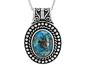 Oval Turquoise Sterling Silver Pendant With Chain