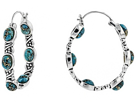 Oval Cabochon Turquoise Sterling Silver Hoop Earrings