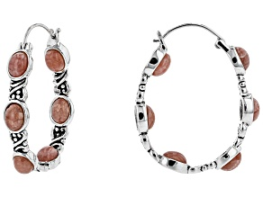 Oval Cabochon Rhodochrosite Sterling Silver Hoop Earrings