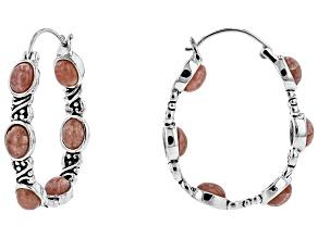 Oval Cabochon Rhodochrosite Sterling Silver Hoop Earrings
