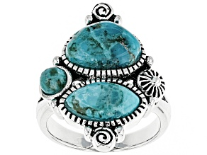 Turquoise Sterling Silver 3-stone  Ring
