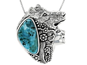 Turquoise Sterling Silver Girl and Wolf slide with Chain