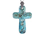 Cross Shaped Turquoise Sterling Silver Pendant With Chain