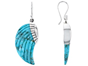 Carved Mohave Kingman Turquoise Angel Wing Sterling Silver Dangle Earrings