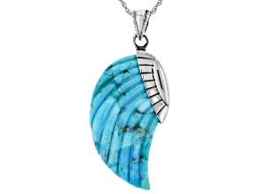 Carved Mohave Kingman Turquoise Angel Wing Sterling Silver Pendant With Chain