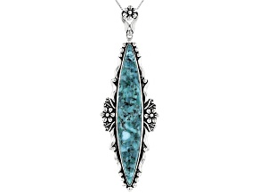 Turquoise Sterling Silver Floral Pendant with Chain