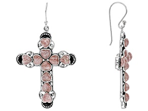 Heart Shape Rhodochrosite Sterling Silver Cross Dangle Earrings