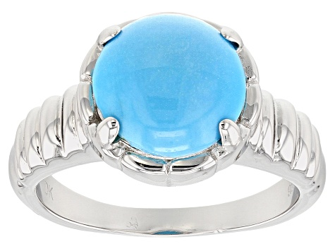 Round Cabochon Sleeping Beauty Turquoise Rhodium Over Sterling Silver Ring