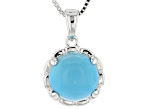 Round Sleeping Beauty Turquoise Rhodium Over Sterling Silver Pendant With Chain