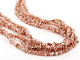 Rhodochrosite Rhodium Over Sterling Silver 5-Strand Necklace