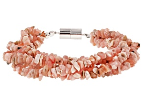 Rhodochrosite Rhodium Over Sterling Silver 5-Strand Bracelet
