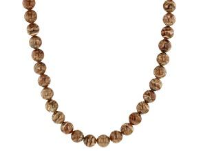Round Caramel Rhodochrosite Rhodium Over Sterling Silver Necklace Strand