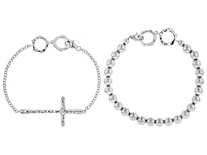 Rhodium Over Sterling Silver Cross and Bead Bracelet Set