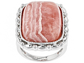 Pink Rhodochrosite Rhodium Over Sterling Silver Ring