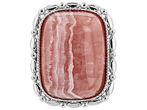 red pink white Rhodochrosite pendant silver twirl bail 97ct Chopper