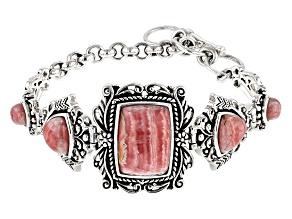 Pink Rhodochrosite Sterling Silver Bracelet