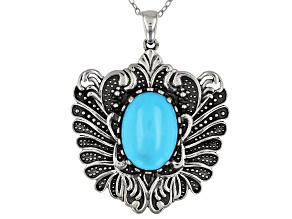 14x10mm Oval Cabochon Sleeping Beauty Turquoise Rhodium Over Sterling Silver Pendant with Chain