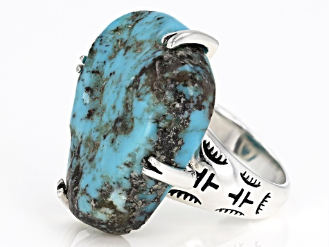 Turquoise Rough Sterling Silver Ring