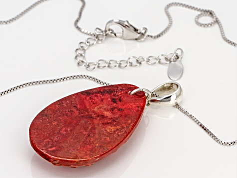 Red Sponge Coral Silver Pendant with Chain