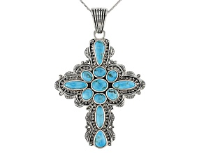 Turquoise Sterling Silver Cross Enhancer with Chain