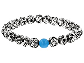 Sleeping Beauty Turquoise Silver Stretch Bracelet