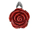 Red Coral Sterling Silver Pendant