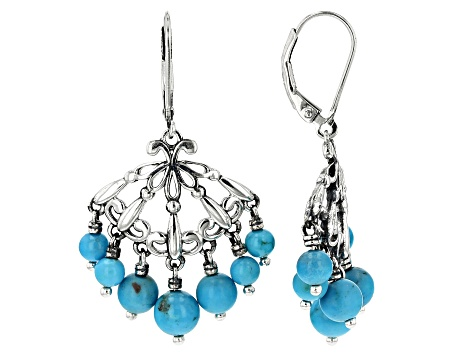 Sleeping Beauty Turquoise  Rhodium Over Silver Earrings