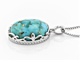 Turquoise Rhodium Over Sterling Silver Pendant with Chain
