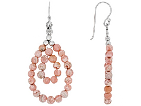 Pink Rhodochrosite Sterling Silver Dangle Earrings