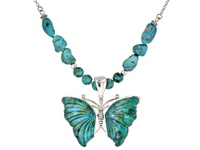 Turquoise Sterling Silver Necklace & Butterfly Enhancer