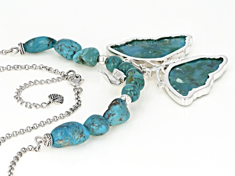 Turquoise Rhodium Over Sterling Silver Necklace & Butterfly Enhancer
