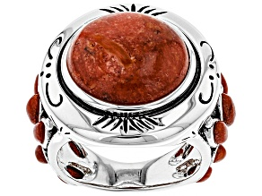 Red Coral Sterling Silver Ring