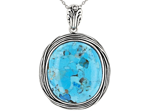 Oval Cabochon Turquoise Sterling Silver Pendant with Chain