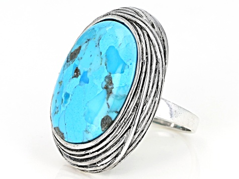 Oval Cabochon Turquoise Sterling Silver Ring