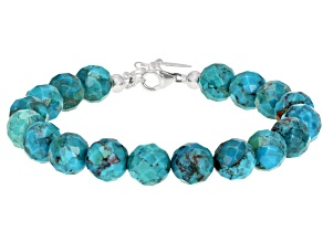 Turquoise bead strand, silver bracelet