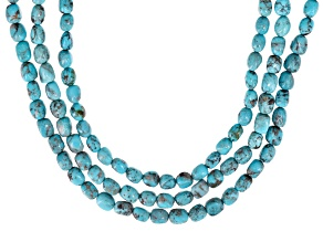 Turquoise Silver Triple Strand Necklace