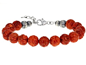 10MM Round Carved Sponge Coral Sterling Silver Bracelet