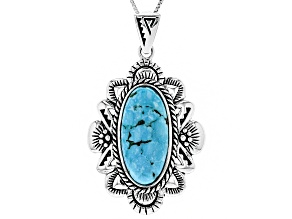 Turquoise Silver Pendant With Chain