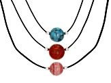 12MM Round Turquoise, Indonesian Coral and Rhodochrosite Rhodium Over Silver Leather Necklace