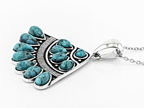 Blue Turquoise Silver Pendant With Chain.