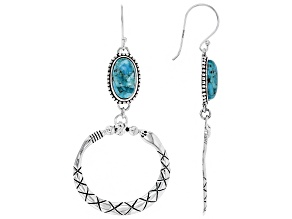 Turquoise Silver Snake Earrings
