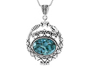 Turquoise Silver Snake Pendant With Chain
