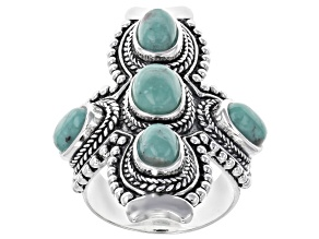 Kingman Turquoise Silver Cross Ring