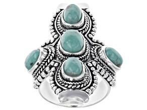 Kingman Turquoise Silver Cross Ring