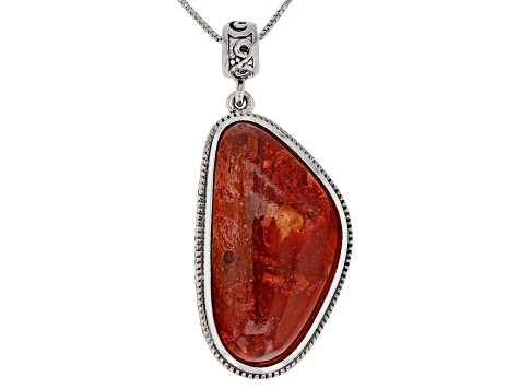 Red Coral Silver Pendant With Chain