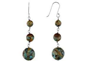 Turquoise Bead Rhodium Over Silver Dangle Earrings
