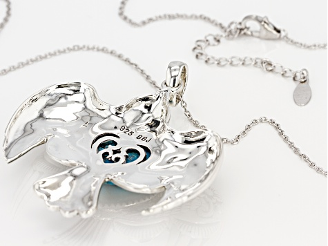 Turquoise Silver Eagle Pendant With Chain